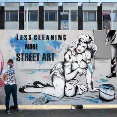 'Less cleaning, more street art' by Zabou : Gloucester Paint Jam Graffiti Art, Graffiti Images, Mural Painting, Painting & Drawing, Paintings, Spray Can Art, Street Art Love, Interactive Art, Imagines
