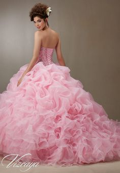 Quinceanera Dress  Vizcaya Morilee 89075 Ruched organza skirt with beaded bodice Colors: Pink, Light Aqua, Coral and white  A back side view