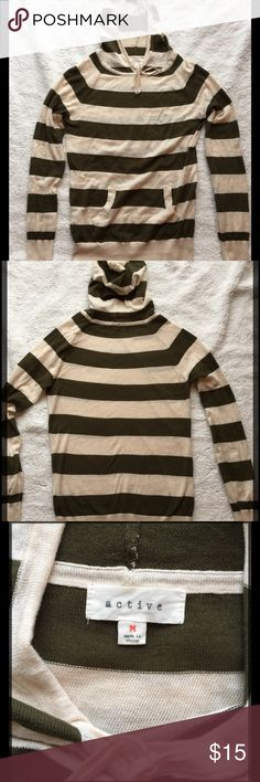 """Lightweight Hooded Sweater Cute lightweight hooded sweater, military green and off white striped, worn once, hand washed and hung to dry. Great condition! Approx measurements are pit to pit 16 1/2"""", length 24"""", sleeves 25"""", Size Medium active Tops"""