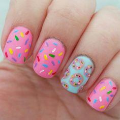 # Donut nails # Birthday nails # Summer nails for children Donut nails . Birthday Nail Art, Birthday Nail Designs, Card Birthday, Birthday Quotes, Birthday Ideas, Birthday Gifts, Nail Designs For Kids, Birthday Design, Pretty Nail Art