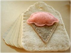 Felt Ice Cream Cone on a little notebook ~ Could just be a sweet tag
