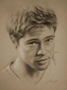 Pencil Portrait Celebrity Pencil Portraits - Brad Pitt - Armed with graphite and beige paper, pencil-wielding Polish artist Krzysztof Lukasiewicz portrays famous faces. Here's a step-by-step of his drawing of George Clooney, from initial sketch to … Realistic Pencil Drawings, Realistic Paintings, Art Drawings, Horse Drawings, Animal Drawings, Portrait Au Crayon, Pencil Portrait, Celebrity Drawings, Drawings Of Celebrities