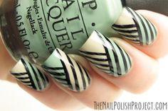 Green striped nail art