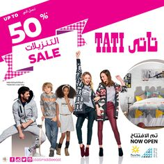 It's SALE - 50% Off on selected items at TATI! Hurry whilst stocks last! Check us out @ Mecca Mall -Ground Floor & Abdali Mall -2nd Floor!Tel:06582 5457    #TATI #tatimiddleeast #Sale #offer #50 % #Off #discount #promotion #nowopen #meccamall #Abdalimall #Amman #jordan #new #fashion #destination #woman #man #kids #home #shoes #accessories #btcfashion