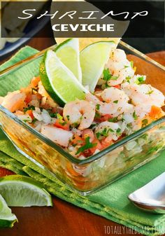 Healthy Recipes I don't know if I have ever had shrimp ceviche! - Shrimp ceviche is super easy to make, and has an incredible fresh flavor that basically tastes like summer in your mouth. Fish Recipes, Seafood Recipes, Appetizer Recipes, Mexican Food Recipes, Salad Recipes, Dinner Recipes, Cooking Recipes, Healthy Recipes, Mexican Desserts