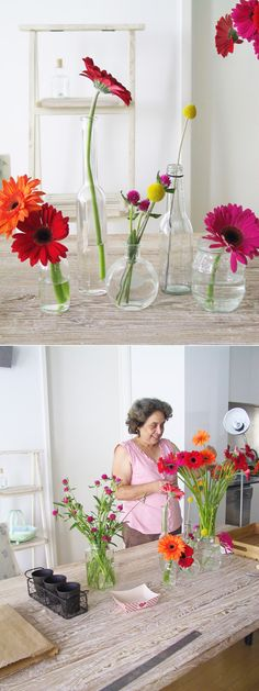 Love the flowers and vases