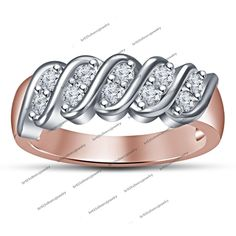 Round Sim. Diamond 14K Rose Gold FN 925 Silver Wedding Band Ring Spl For Women's #br925 #WeddingBand