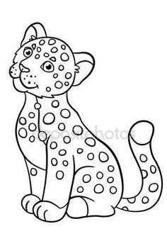 Letöltés - Színező oldalak. Kis aranyos baby jaguar mosolyog — Stock Illusztráció #116838446