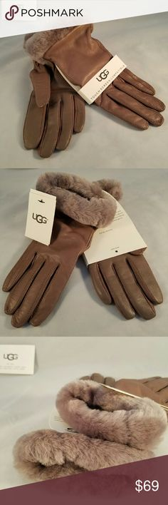 WOMEN'S CLASSIC LEATHER SMART GLOVE Don?t let frigid temperatures push you off the grid. This pair of rich leather gloves lets you use your touchscreens while keeping your hands warm.  DETAILS:  Leather and sheepskin Lining: 70% Wool, 20% Nylon, 10% Cashmere Touchscreen compatible. Brand new with tags!!  Size med. UGG Accessories Gloves & Mittens