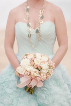 Gorgeous seafoam green Ramona Keveza gown  wrong necklace for a bride I think