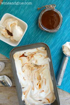 No Machine Caramel Swirl Ice Cream |  This rich, creamy, delicious ice cream only has three ingredients and doesn't need an ice cream machin...