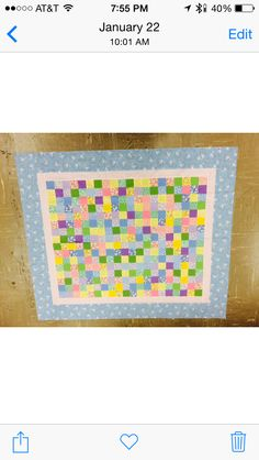 Simple baby quilt blue border