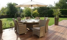  Description Create a stir in suburbia with our stylish round Antilles rattan dining set, perfect for that shady corner of your garden. Sitting 8 people under the shade of a pretty parasol it will extend your eating space onto the patio, lawn or sun deck....