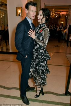 Matt Smith looked every inch the proud boyfriend as he congratulated Lily James on her Breakthrough award at the Harper's Bazaar Women Of The Year Awards at Claridge's hotel, London.