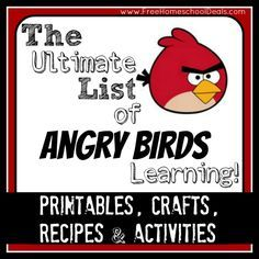 The Ultimate List of Angry Birds Learning: Over 50+ Free Printables, Crafts, Recipes, and Activities! | Free Homeschool Deals ©
