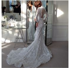 Wedding Dresses: Australian Designer Steven Khalil *link to amazing collection of wedding gowns to choose from. A real Must see! Lace Wedding Dress With Sleeves, Dresses With Sleeves, Lace Sleeves, Lace Dress, Steven Khalil Wedding Dress, Bridal Dresses, Wedding Gowns, Wedding Bells, Essense Of Australia