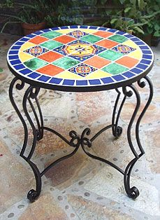 Rod iron and Talevera tiled table