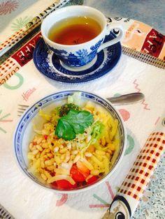 Pinenut,feta,capsicum and tomato salad with fennel and calendula tea