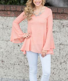 Look at this Pinkblush Peach Bell-Sleeve Top on #zulily today!
