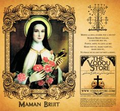 Maman Brijit the swaggering, rum drinking wife of Baron Samedi and mother of the… Baron Samedi, Voodoo Hoodoo, Afro, Candle Labels, Orisha, Prayer Cards, Religion, Book Of Shadows, Our Lady