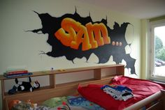 Simple Graffiti Boys Bedroom Design Ideas Picture