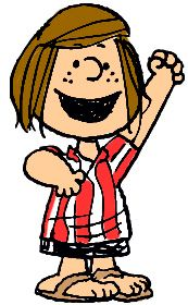 "Peppermint Patty: first appearance August 22, 1966  A fearless born leader and a natural athlete, Peppermint Patty is up to any challenge...except studying. She never met a school day she didn't hate. But this tough girl has a soft side, too: She's hopelessly in love with her pal Charlie ""Chuck"" Brown—who has no idea. For Peppermint Patty, sports are easy; it's life that's hard."