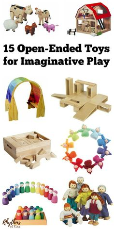 Children begin to understand the world around them through movement and play. They need pretend play materials that are open-ended enough to meet their needs with each new imagining. These 15 open-ended toys for imaginative or dramatic play provide the pe The Sims, Sims 4, Toddler Play, Baby Play, Infant Activities, Activities For Kids, Imagination Toys, Montessori Toys, Preschool Toys