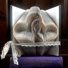 Two Hearts - Valentine's day gift - Folded book art - Boyfriend gift - girlfriend - anniversary - wedding gift - handmade gift