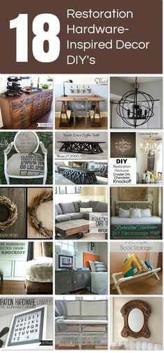 Love the looks of Restoration Hardware pieces but not the cost ~ here are 18 Restoration Hardware-Inspired Decor DIY's