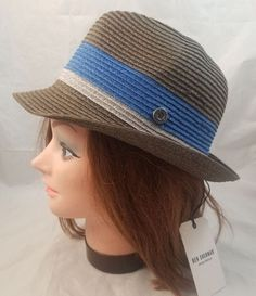 c542f42df142f  NWT  BEN SHERMAN Wide Stripe Trilby Hat Brown Blue Paper Sz S M