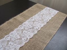 """SAMPLE Lace & Burlap Table Runner - 12.5"""" x 12.5"""" or 14"""" x 14"""" by RevelryPartyCompany on Etsy https://www.etsy.com/listing/159066256/sample-lace-burlap-table-runner-125-x"""