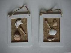 Set of two seashell burlap wooden wall hanging home decor plaque frames by NovelShell on Etsy