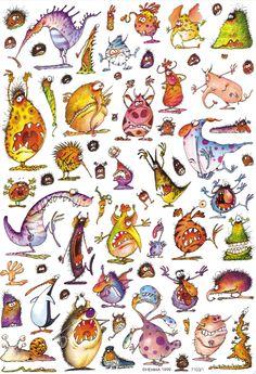 Halloween Illustration, Fantasy Illustration, Character Illustration, Cute Monsters Drawings, Cartoon Monsters, Little Monsters, Clip Art Vintage, Adornos Halloween, Halloween Rocks