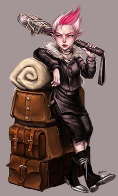 Breena Sparklegam Timbers.  Gnome female with pink striped hair, black clothes and mace, leaning on travel bags. - Mimzy Za by