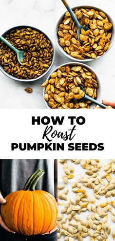 A step-by-step photo tutorial on How to Roast Pumpkin Seeds for a gluten-free snack. The perfect fall recipe, you'll be wanting this roasted pumpkin seed recipe every afternoon! With basic roasted pumpkin seeds, honey mustard, and spicy pumpkin seeds to choose from. Roasted Pumpkin Seeds, Roast Pumpkin, Pumpkin Seed Recipes, Gluten Free Snacks, Honey Mustard, Photo Tutorial, Nutrition Tips, Fall Recipes, Meal Planning