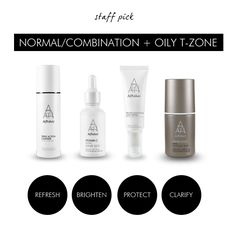 Normal/combination skin? Here's what your Alpha-H skincare regime could look like: Triple Action Cleanser – cleanses and refreshes skin, removing all makeup, dirt and impurities. Vitamin C Serum – brightens skin and improves the clarity. Protection Plus SPF50+ – moisturizes and protects without being greasy and a perfect base for makeup. Liquid Gold – smooths, clears and evens out skin tone.