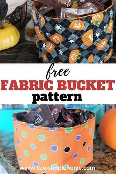 How to make a fabric bucket for all occasions including Halloween, Christmas or just to get organized. Halloween Sewing, Fall Sewing, Halloween Christmas, Halloween Projects, Sewing Patterns For Kids, Easy Sewing Projects, Sewing Projects For Beginners, Sewing Tutorials, Fun Bucket