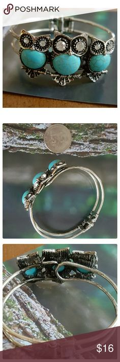 JUST IN: Faux Turquoise Bohemian OwlBracelet NWOT Faux Turquoise bracelet with 3 owls on front face. Antiqued silver Alloy metal. Dimensions: 2 x 2.5 in. Fits up to 7 in wrist. Hinge closure. Jewelry Bracelets