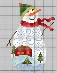 Snowman cross stitch pattern.  Free.