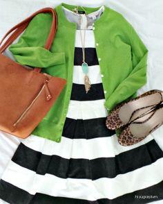 Hi Sugarplum   Stripes + Kelly Green + Leopard