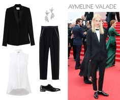 Pallas Centaure jacket, $2,265theline.comKenneth Jay Lane Marquis Hanging Crystal Earrings, $125shopbop.comPallas Lambda trousers, $1,435theline.comCole Haan Lenox Hill patent-leather oxfords, $198lordandtaylor.comBrunello Cucinelli pleat placket trapeze blouse, $1,075marissacollections.com