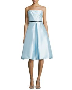 Strapless Belted Tea-Length Cocktail Dress, Size: 0, White - ML Monique Lhuillier