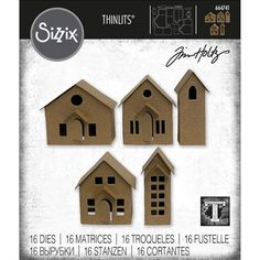 Tim Holtz Sizzix PAPER VILLAGE Thinlits Dies 664741 at Simon Says STAMP! House Template, Wafer Thin, 3d Texture, Putz Houses, Single Sheets, Paper Houses, Little Houses, Tiny Houses, Embossing Folder