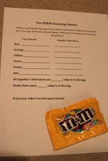 Ideas for travel kit / busy kit (restaurants, etc.) for older kids. M&Ms guessing game is a great idea!