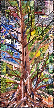 "Dawn Redwood at Duke Gardens **SOLD**  30"" x 60""    A Goldfinch swoops down from the Dawn Redwood and flits from one perspective to another in this elaborate garden.    This quilt was sold in 1999 to a couple who became engaged in one of the places depicted in this quilt. It hangs in their private residence in Long Beach, CA."