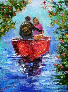 Original oil painting Romantic Couple palette by Karensfineart, $98.00