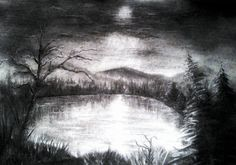A winter night, Charcoal on paper