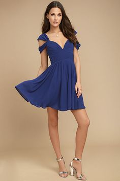 fcccdde1ef Come Away With Me Royal Blue Skater Dress