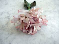 Vintage 1940's millinery flower mauve pink cotton orchid type bunch two leaves