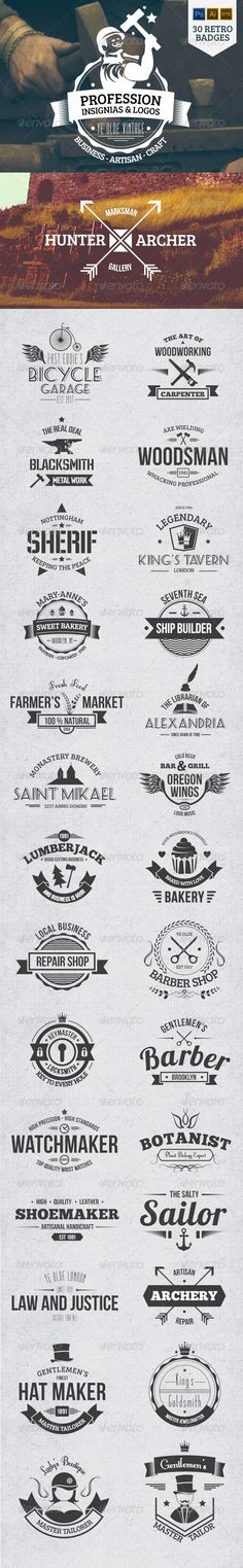 30 Vintage Profession Badges and Insignias Template   Buy and Download: http://graphicriver.net/item/30-vintage-profession-badges-and-insignias/8041862?WT.ac=category_thumb&WT.z_author=koo_mikko&ref=ksioks